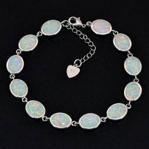 Stunning White Fire Opal and Silver Bracelet